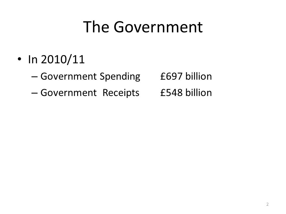 The Government In 2010/11 – Government Spending£697 billion – Government Receipts£548 billion 2