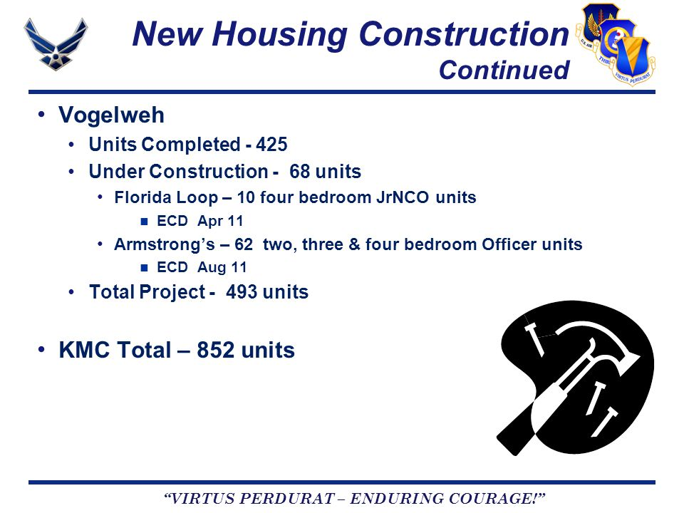 VIRTUS PERDURAT – ENDURING COURAGE! New Housing Construction Continued Vogelweh Units Completed - 425 Under Construction - 68 units Florida Loop – 10 four bedroom JrNCO units ECD Apr 11 Armstrong's – 62 two, three & four bedroom Officer units ECD Aug 11 Total Project - 493 units KMC Total – 852 units