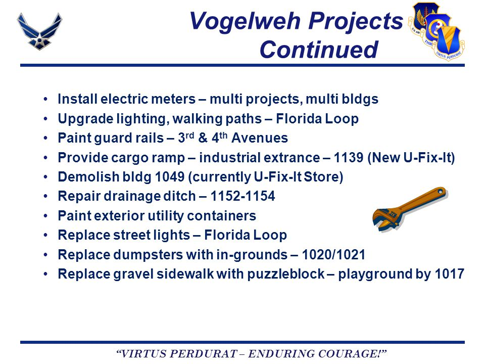 VIRTUS PERDURAT – ENDURING COURAGE! Vogelweh Projects Continued Install electric meters – multi projects, multi bldgs Upgrade lighting, walking paths – Florida Loop Paint guard rails – 3 rd & 4 th Avenues Provide cargo ramp – industrial extrance – 1139 (New U-Fix-It) Demolish bldg 1049 (currently U-Fix-It Store) Repair drainage ditch – 1152-1154 Paint exterior utility containers Replace street lights – Florida Loop Replace dumpsters with in-grounds – 1020/1021 Replace gravel sidewalk with puzzleblock – playground by 1017