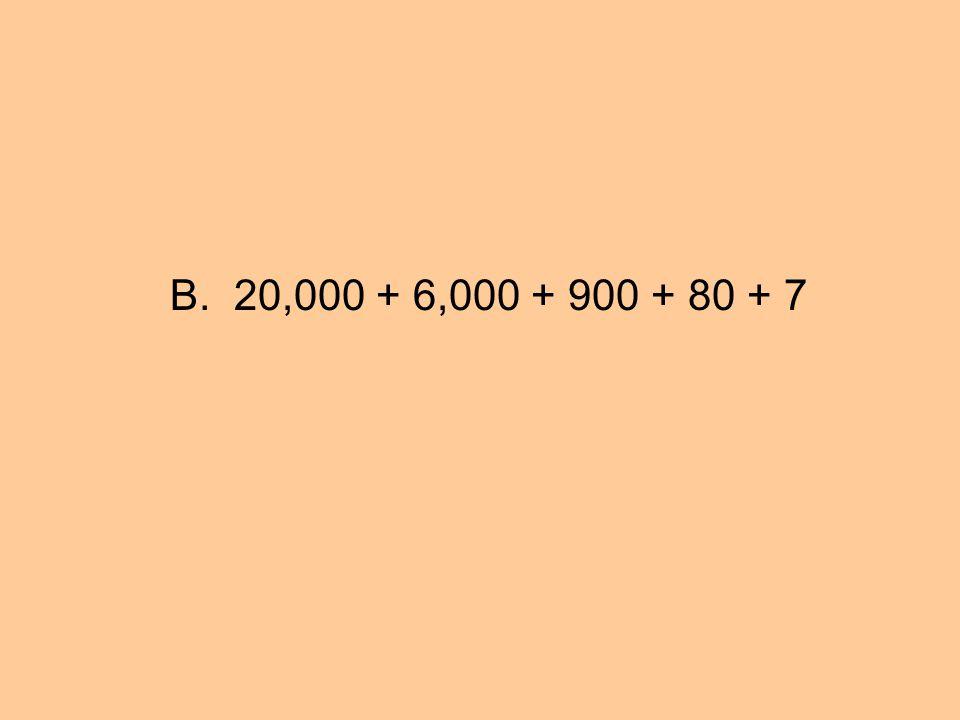 B. 20,000 + 6,000 + 900 + 80 + 7