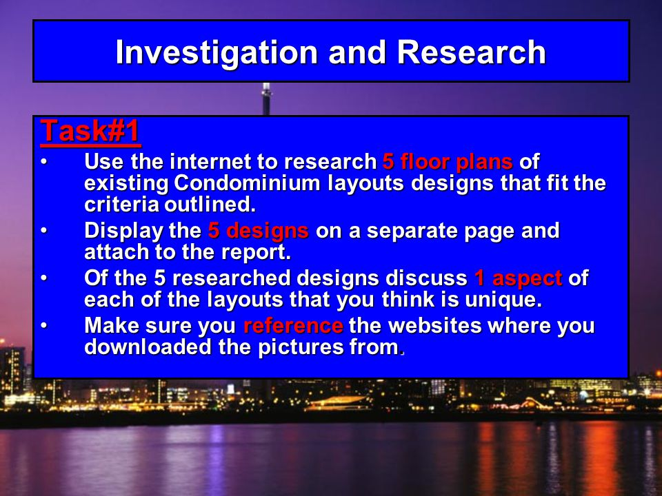 Investigation and Research Task#1 Use the internet to research 5 floor plans of existing Condominium layouts designs that fit the criteria outlined.Use the internet to research 5 floor plans of existing Condominium layouts designs that fit the criteria outlined.