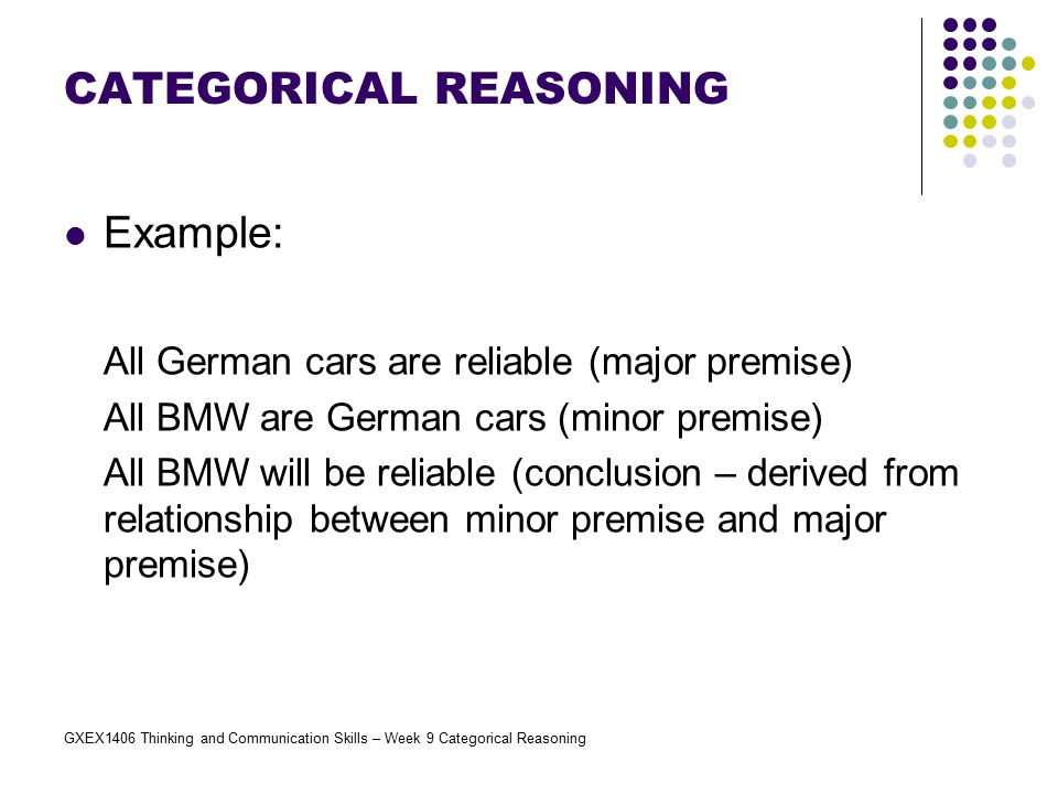 GXEX1406 Thinking and Communication Skills – Week 9 Categorical Reasoning Example: All German cars are reliable (major premise) All BMW are German car