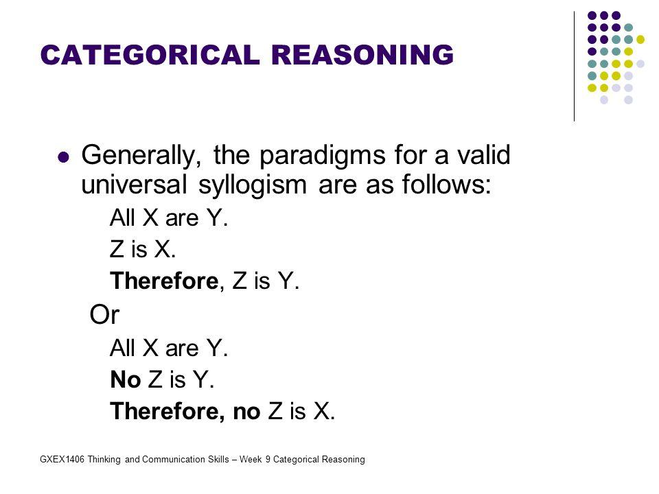 GXEX1406 Thinking and Communication Skills – Week 9 Categorical Reasoning Exercises 3.
