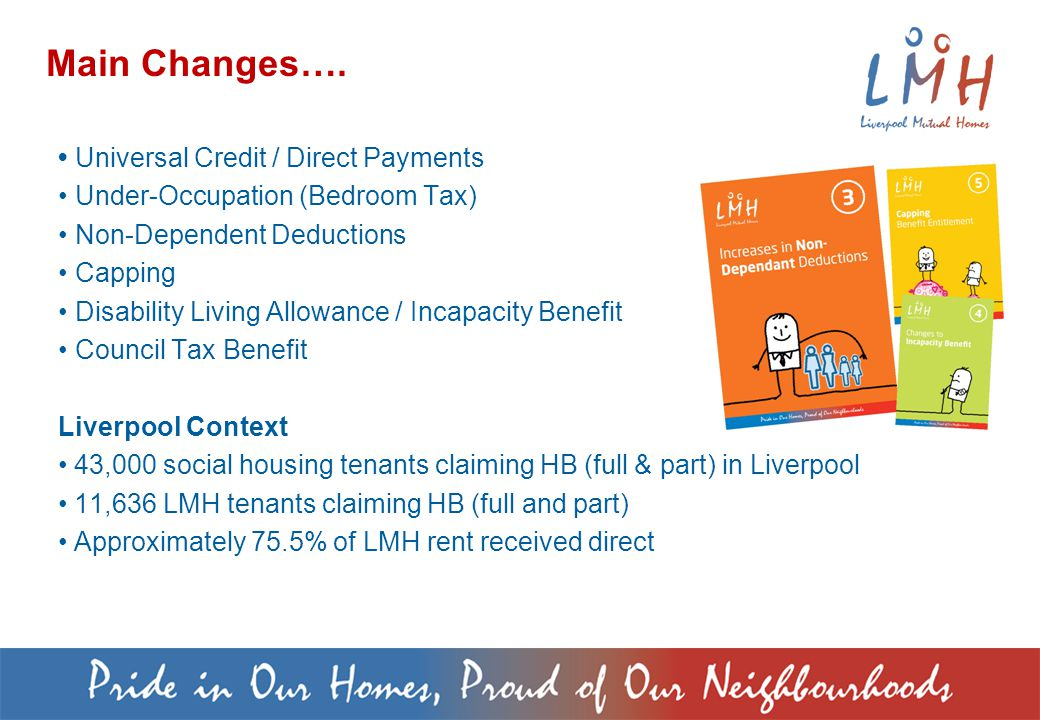 Universal Credit / Direct Payments Under-Occupation (Bedroom Tax) Non-Dependent Deductions Capping Disability Living Allowance / Incapacity Benefit Council Tax Benefit Liverpool Context 43,000 social housing tenants claiming HB (full & part) in Liverpool 11,636 LMH tenants claiming HB (full and part) Approximately 75.5% of LMH rent received direct Main Changes….