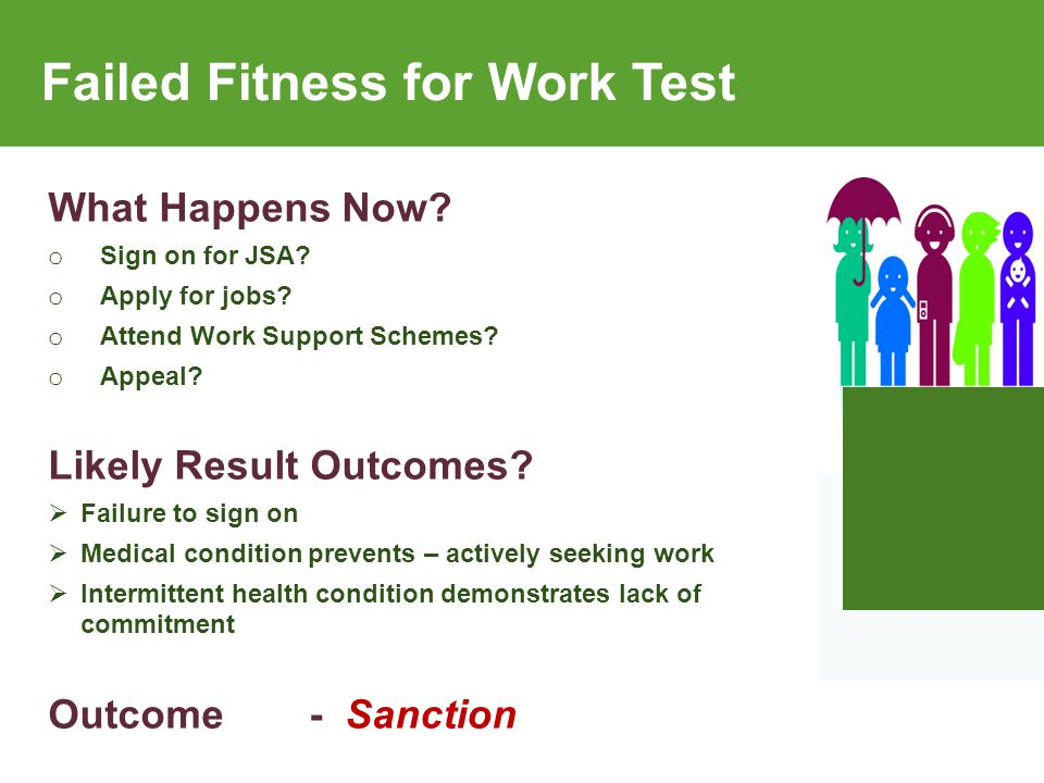 Failed Fitness for Work Test What Happens Now. o Sign on for JSA.