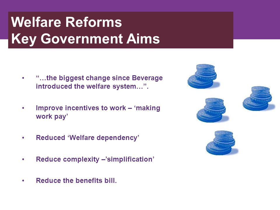 Achieving those aims Welfare Reform Act – March 2012.