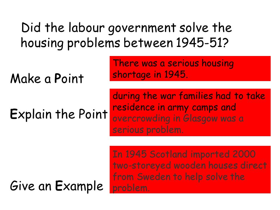 Did the labour government solve the housing problems between 1945-51? Make a Point Explain the Point Give an Example There was a serious housing short
