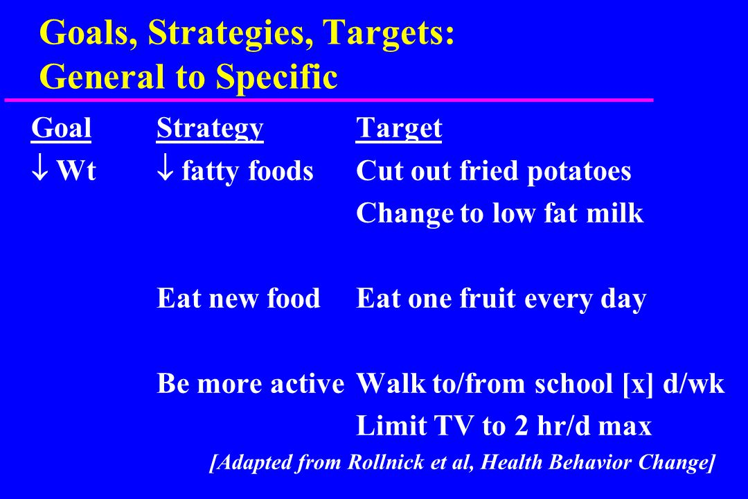 Principles of Treatment u Diet: simple & explicit u Physical activity: choice, fun u Goals & rewards – Proximal vs distal, weight vs behavior u Individualized joint problem solving – choose a few things u Barriers to change usually bigger problem than motivation; choose your battles u Avoid being judgmental & avoid stigmatization