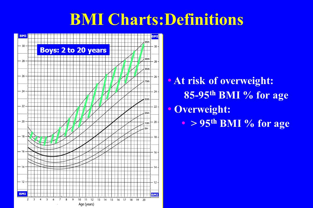 Referral BMI Charts:Definitions Boys: 2 to 20 years BMI At risk of overweight: 85-95 th BMI % for age Overweight: > 95 th BMI % for age