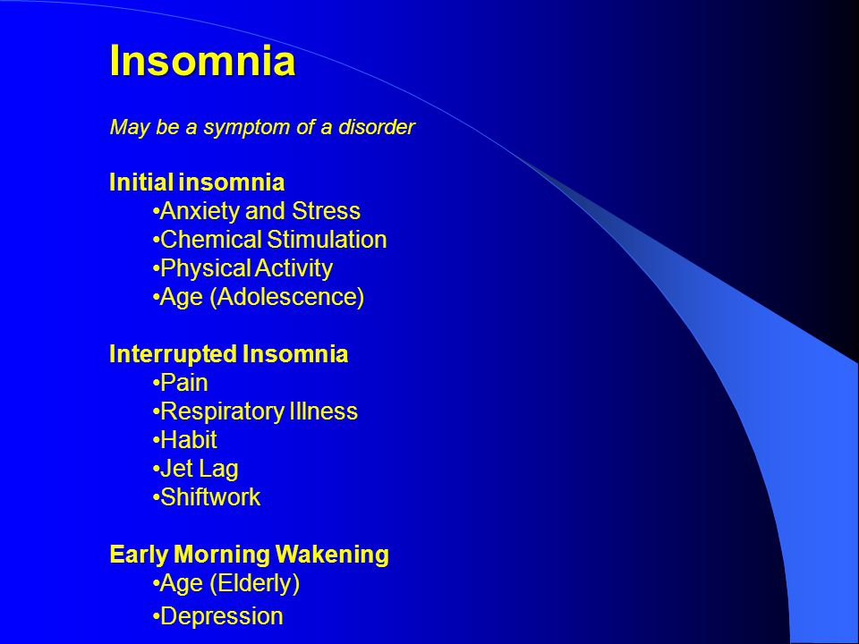 Insomnia May be a symptom of a disorder Initial insomnia Anxiety and Stress Chemical Stimulation Physical Activity Age (Adolescence) Interrupted Insomnia Pain Respiratory Illness Habit Jet Lag Shiftwork Early Morning Wakening Age (Elderly) Depression
