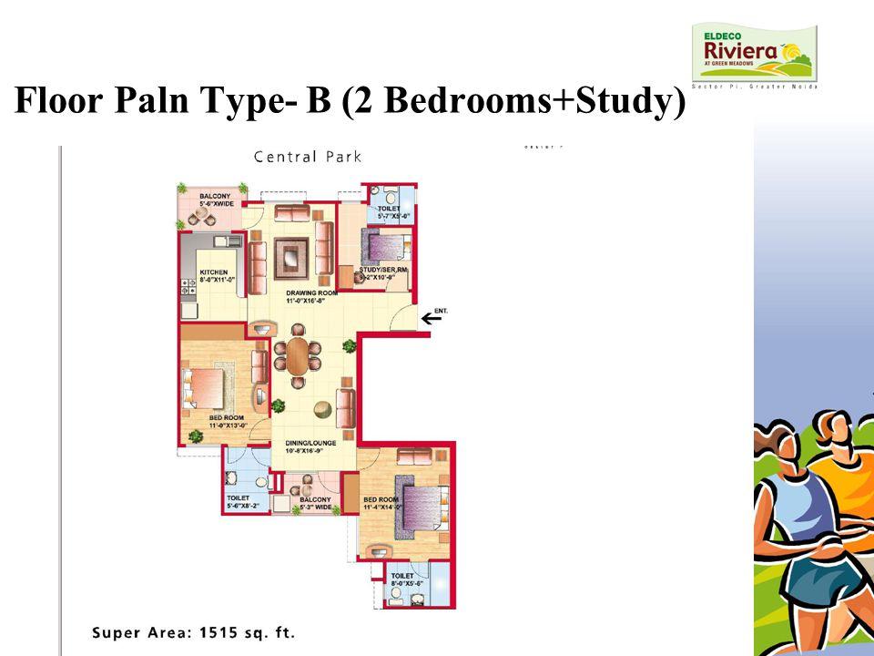 Floor Paln Type- B (2 Bedrooms+Study)