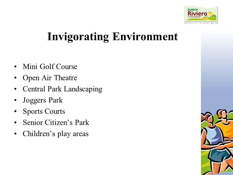 Invigorating Environment Mini Golf Course Open Air Theatre Central Park Landscaping Joggers Park Sports Courts Senior Citizen's Park Children's play areas