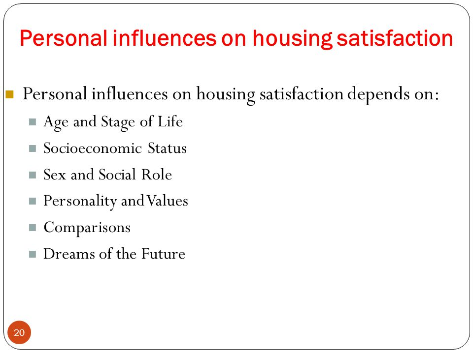 Personal influences on housing satisfaction 20 Personal influences on housing satisfaction depends on: Age and Stage of Life Socioeconomic Status Sex and Social Role Personality and Values Comparisons Dreams of the Future