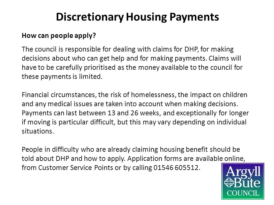 Discretionary Housing Payments How can people apply.