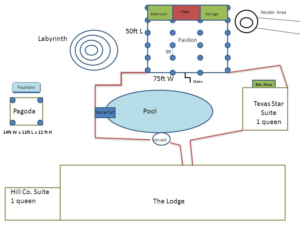 Pavilion Pool Texas Star Suite 1 queen Pagoda 50ft L 75ft W The Lodge Jacuzzi Waterfall Labyrinth Vendor Area 14ft W x 11ft L x 12 ft H Bathroom Stage Storage Stairs Bar Area Fountain Hill Co.