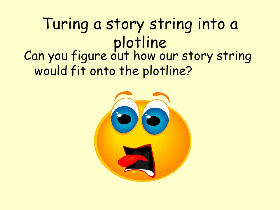 Turing a story string into a plotline Can you figure out how our story string would fit onto the plotline?