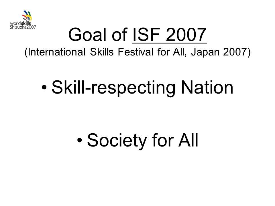 Goal of ISF 2007 (International Skills Festival for All, Japan 2007) Skill-respecting Nation Society for All