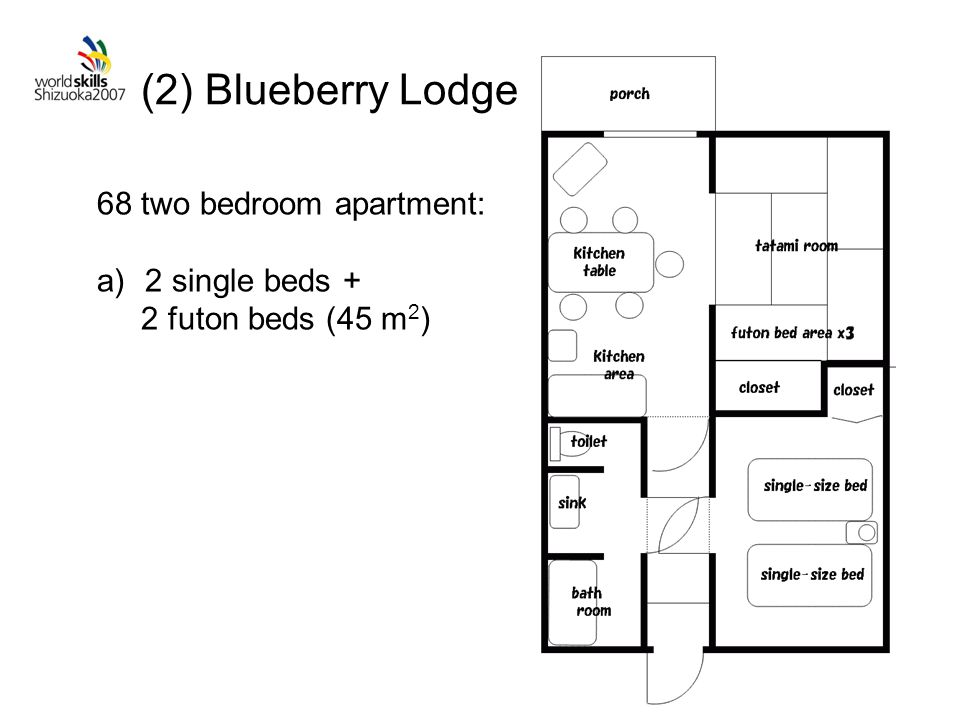 (2) Blueberry Lodge 68 two bedroom apartment: a)2 single beds + 2 futon beds (45 m 2 )