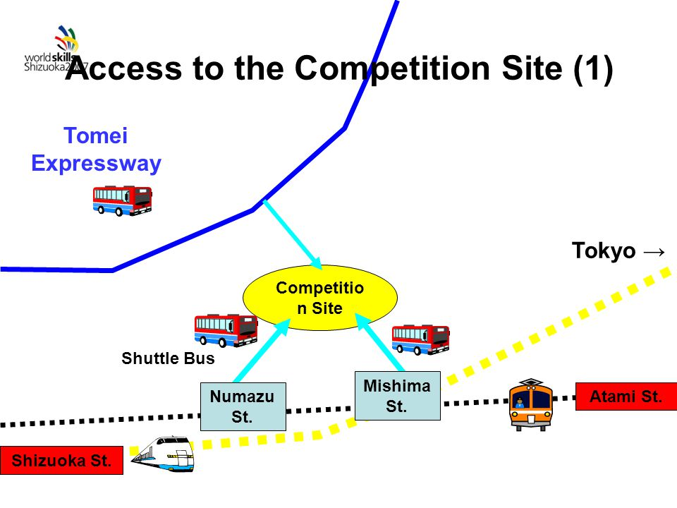 Competitio n Site Tomei Expressway Shuttle Bus Mishima St.
