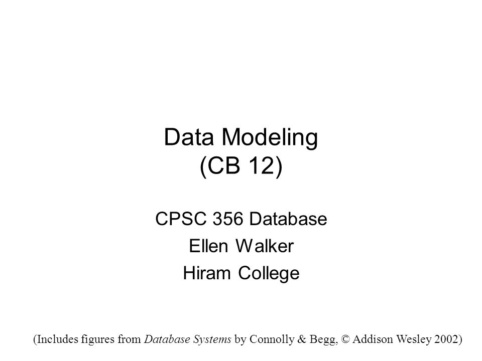 Describing the Data DDL (Data Definition Language) –Detailed definition of database schema –Too low-level (and database-specific) for good modeling.