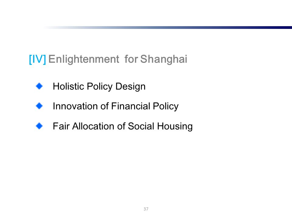 Holistic Policy Design Innovation of Financial Policy Fair Allocation of Social Housing 37 [IV] Enlightenment for Shanghai