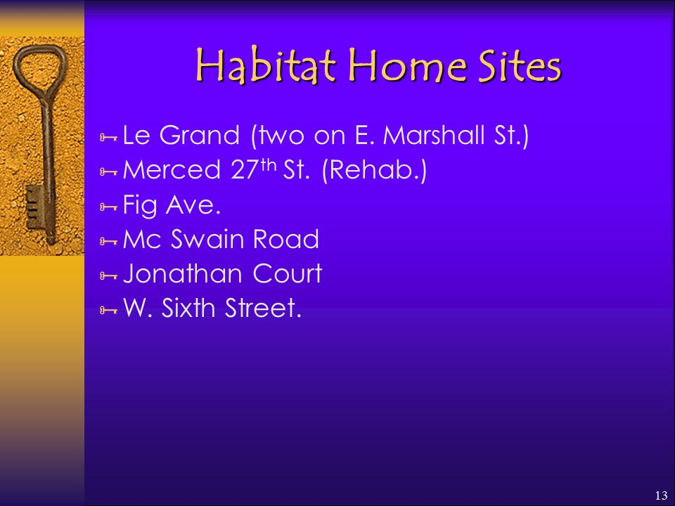 13 Habitat Home Sites  Le Grand (two on E. Marshall St.)  Merced 27 th St.