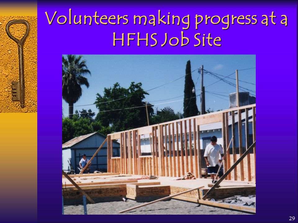29 Volunteers making progress at a HFHS Job Site