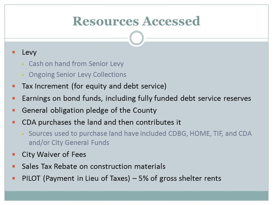 Resources Accessed Levy Cash on hand from Senior Levy Ongoing Senior Levy Collections Tax Increment (for equity and debt service) Earnings on bond funds, including fully funded debt service reserves General obligation pledge of the County CDA purchases the land and then contributes it Sources used to purchase land have included CDBG, HOME, TIF, and CDA and/or City General Funds City Waiver of Fees Sales Tax Rebate on construction materials PILOT (Payment in Lieu of Taxes) – 5% of gross shelter rents
