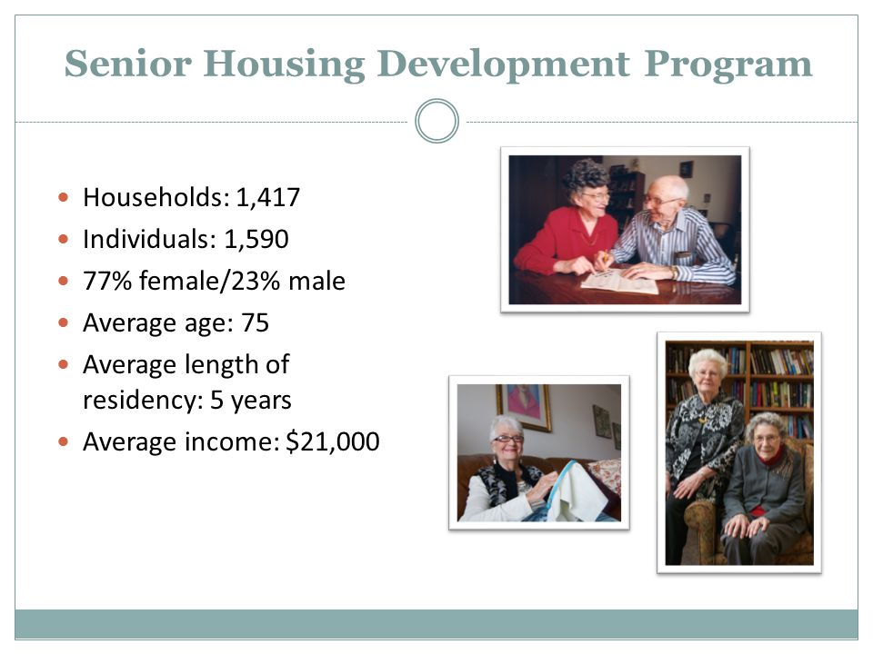 Senior Housing Development Program Households: 1,417 Individuals: 1,590 77% female/23% male Average age: 75 Average length of residency: 5 years Average income: $21,000