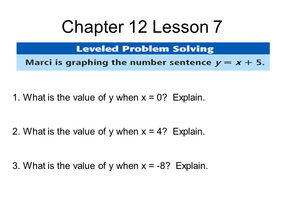 Chapter 12 Lesson 7 1.What is the value of y when x = 0.