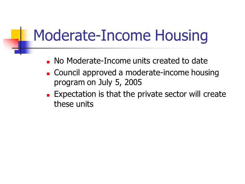 Moderate-Income Housing No Moderate-Income units created to date Council approved a moderate-income housing program on July 5, 2005 Expectation is that the private sector will create these units