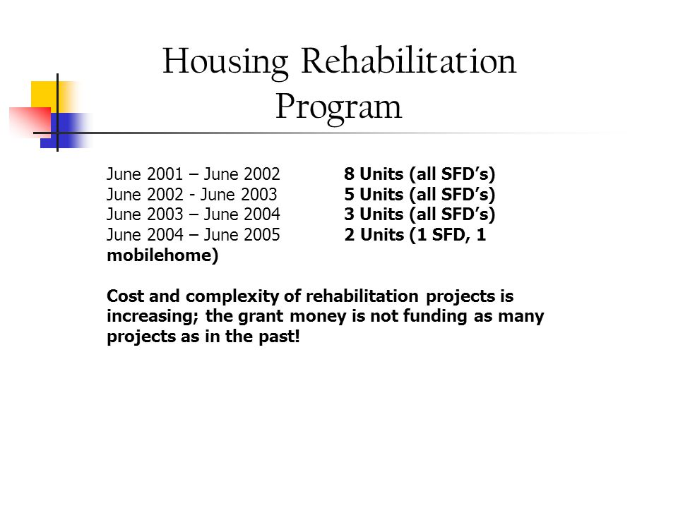 New Rental Project Approvals June 2001 – June 2002 None June 2002 - June 2003 18 Units (Sky Forest Acres (formerly Emerald Bay Estates), 14 one-bedroom and 4 two-bedroom units for people with disabilities, all Very Low Income) June 2003 – June 2004 26 Units (Evergreen Apartments, 24 two-bedroom and two three- bedroom units and Marjorie Street, a one bedroom unit – all low- income) June 2004 – June 2005 19 Units (Sierra Recovery Center Motel Conversion to deed restricted Affordable Housing; 7 multi-person style units [x 2.5 persons per unit], plus Manager's Quarters)