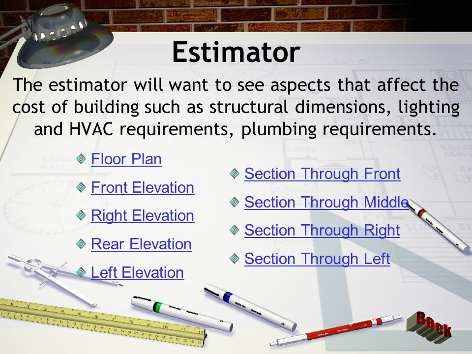 Floor Plans Dimensions as well as materials will be of concern to the estimator.
