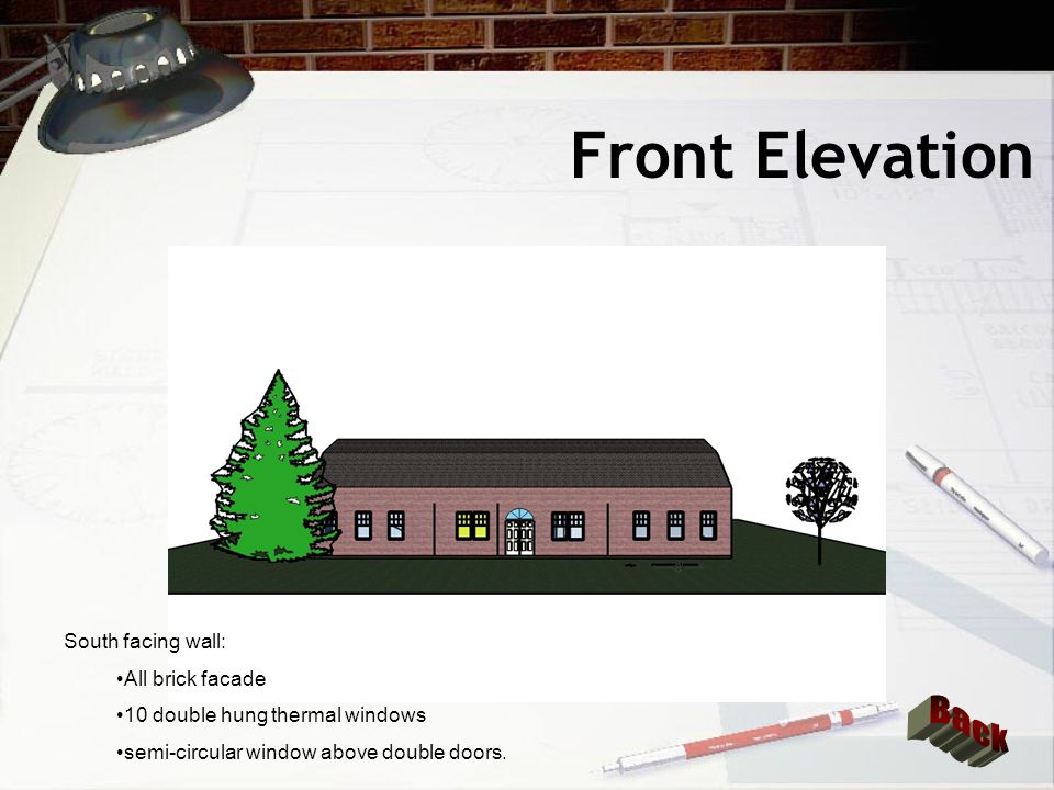 Right Elevation West facing wall: Cut stone masonry facade 6 double hung thermal windows Vinyl Siding above stone facade in roof area