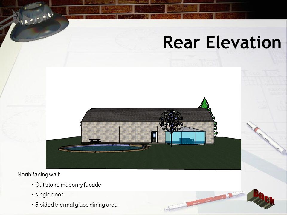 Left Elevation East facing wall: Cut stone masonry facade 4 double hung thermal windows French doors with thermal glass Vinyl Siding above stone facade in roof area