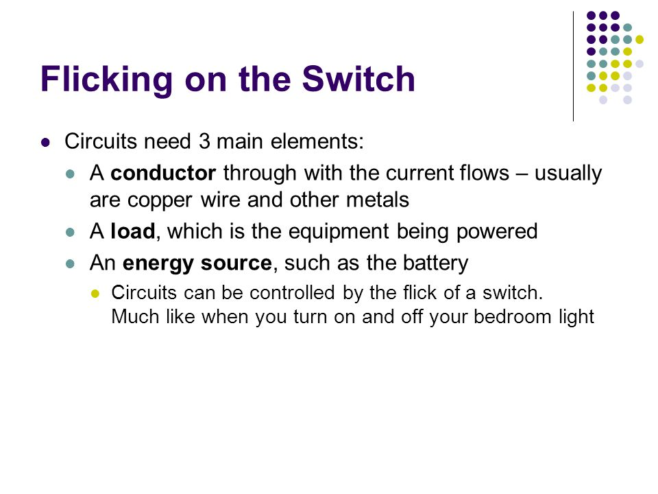 Flicking on the Switch An unbroken path or circuit A driving force to push the electrons that carry the charge around the circuit – usually from a battery