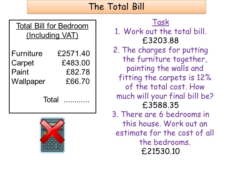 The Total Bill Total Bill for Bedroom (Including VAT) Furniture £2571.40 Carpet £483.00 Paint £82.78 Wallpaper £66.70 Total............