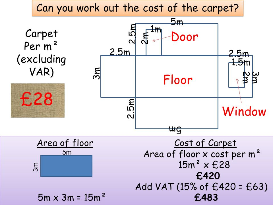 Can you work out the cost of the carpet.