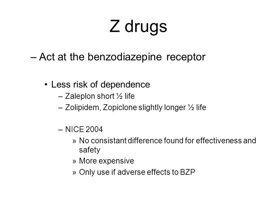 Z drugs –Act at the benzodiazepine receptor Less risk of dependence –Zaleplon short ½ life –Zolipidem, Zopiclone slightly longer ½ life –NICE 2004 »No