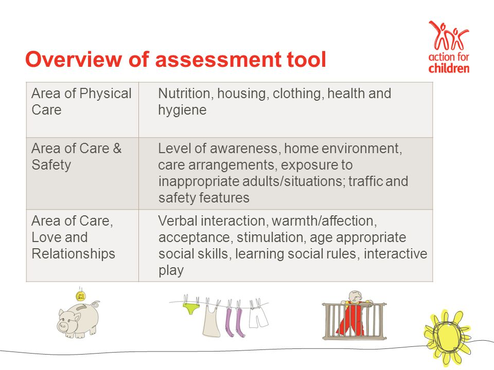 Area of Physical Care Nutrition, housing, clothing, health and hygiene Area of Care & Safety Level of awareness, home environment, care arrangements, exposure to inappropriate adults/situations; traffic and safety features Area of Care, Love and Relationships Verbal interaction, warmth/affection, acceptance, stimulation, age appropriate social skills, learning social rules, interactive play Overview of assessment tool