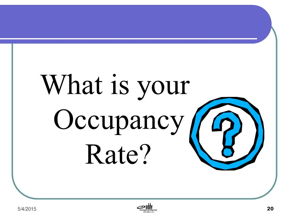 5/4/2015 20 What is your Occupancy Rate?