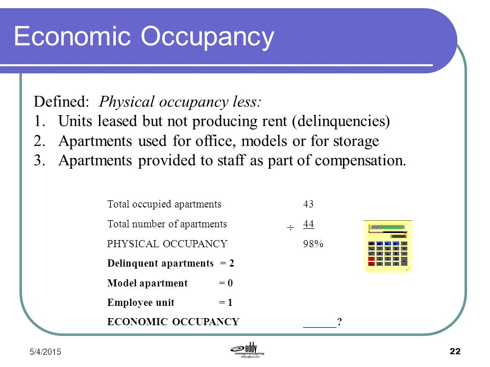 5/4/2015 22 Economic Occupancy Defined: Physical occupancy less: 1.Units leased but not producing rent (delinquencies) 2.Apartments used for office, m