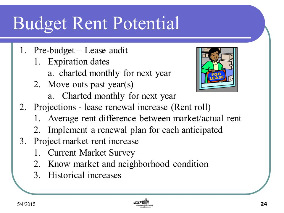 5/4/2015 24 Budget Rent Potential 1.Pre-budget – Lease audit 1.Expiration dates a. charted monthly for next year 2.Move outs past year(s) a.Charted mo