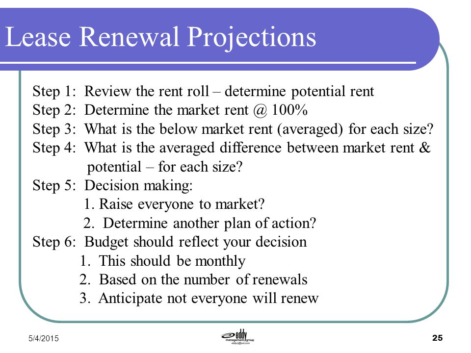 5/4/2015 25 Lease Renewal Projections Step 1: Review the rent roll – determine potential rent Step 2: Determine the market rent @ 100% Step 3: What is