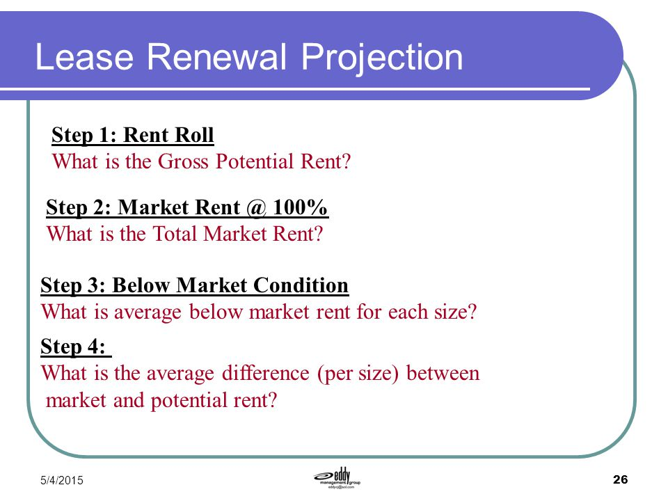 5/4/2015 26 Lease Renewal Projection Step 1: Rent Roll What is the Gross Potential Rent? Step 2: Market Rent @ 100% What is the Total Market Rent? Ste