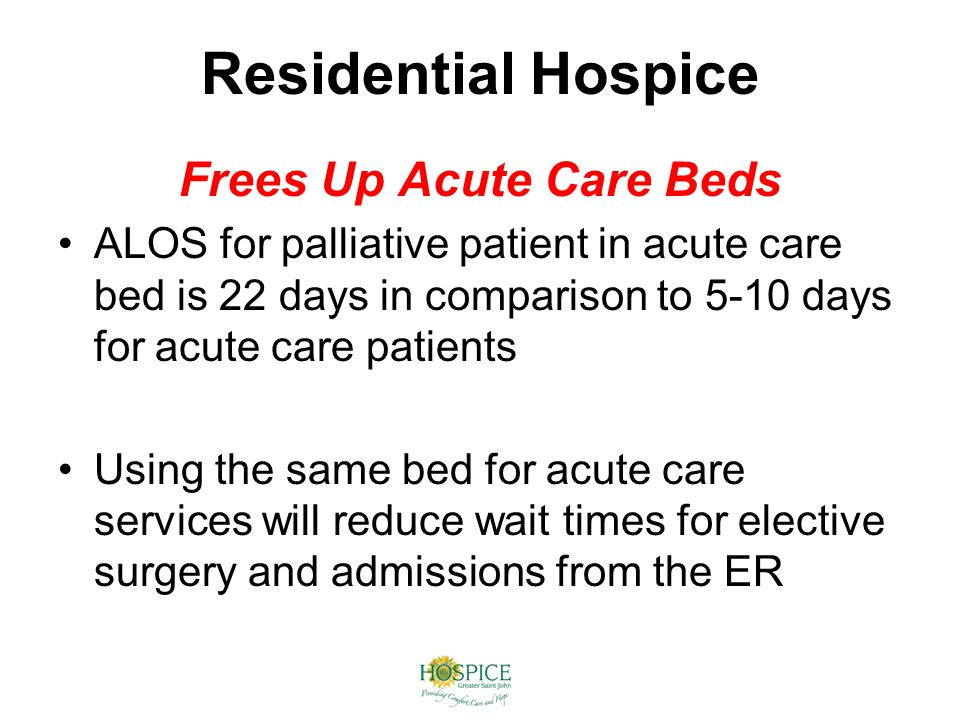 Residential Hospice Frees Up Acute Care Beds ALOS for palliative patient in acute care bed is 22 days in comparison to 5-10 days for acute care patients Using the same bed for acute care services will reduce wait times for elective surgery and admissions from the ER