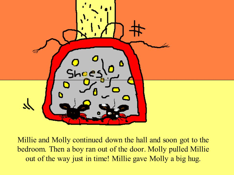 They had just started going down the hall when a lady dropped a pile of clothes on top of the two mice! She then picked up all the clothing with Milli
