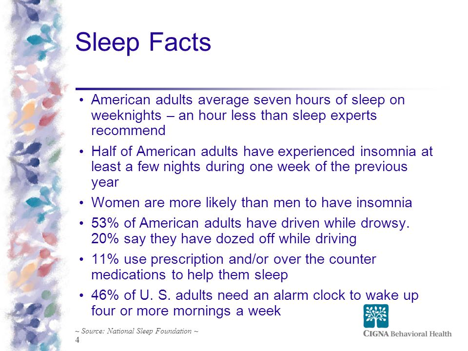 4 Sleep Facts ~ Source: National Sleep Foundation ~ American adults average seven hours of sleep on weeknights – an hour less than sleep experts recom