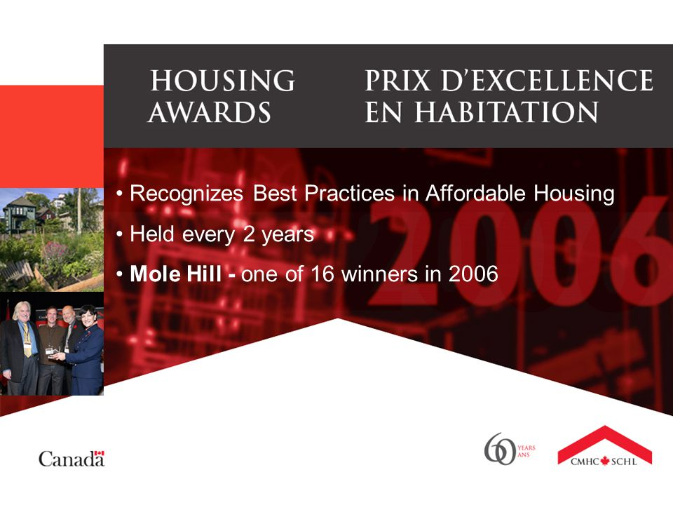 Recognizes Best Practices in Affordable Housing Held every 2 years Mole Hill - one of 16 winners in 2006