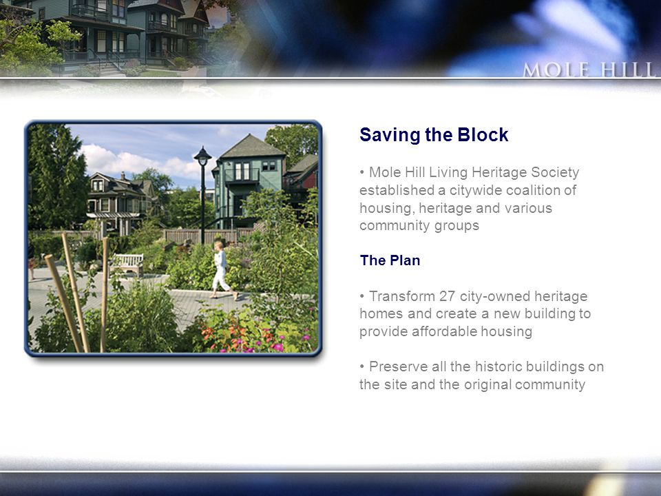 Saving the Block Mole Hill Living Heritage Society established a citywide coalition of housing, heritage and various community groups The Plan Transform 27 city-owned heritage homes and create a new building to provide affordable housing Preserve all the historic buildings on the site and the original community